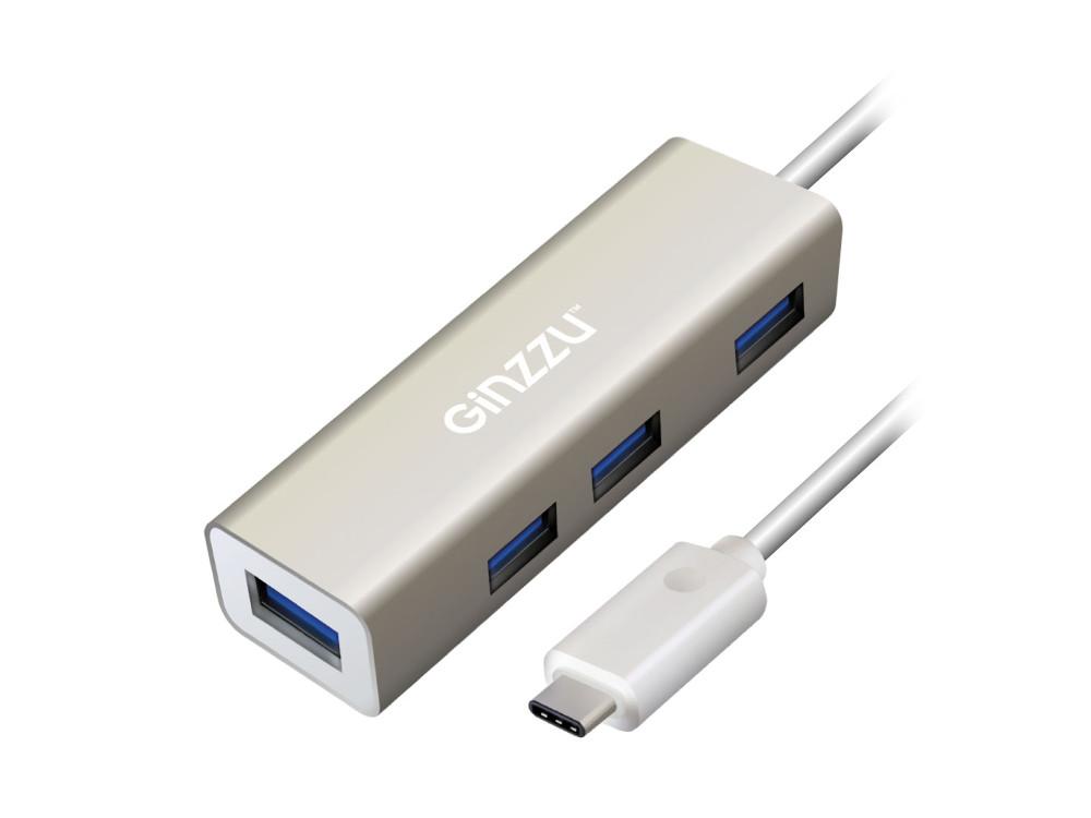 Концентратор Ginzzu GR-518UB OTG Type C, 4-х портовый USB 3.0 OTG Type C концентратор, интерфейс USB 3.1 Type C, кабель - 20 см, алюминиевый корпус, серебристый цена и фото