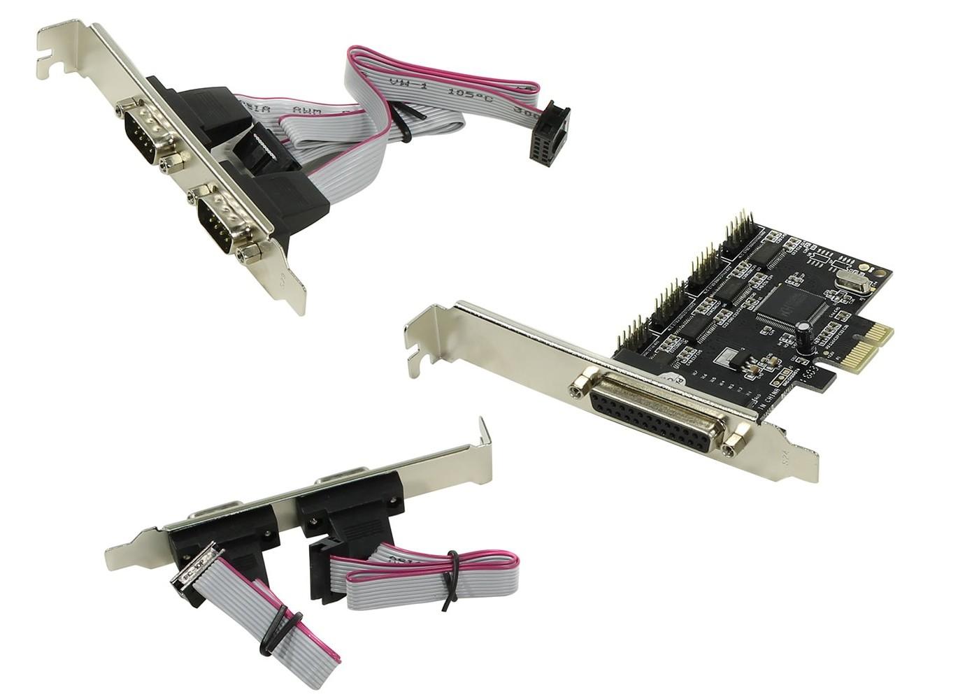 Контроллер ORIENT XWT-PE4S1PV2, PCI-E to COM 4-port + LPT 1-port (WCH CH384) ret контроллер orient xwt pe2slp pci e to com 2 port wch ch382 low profile oem