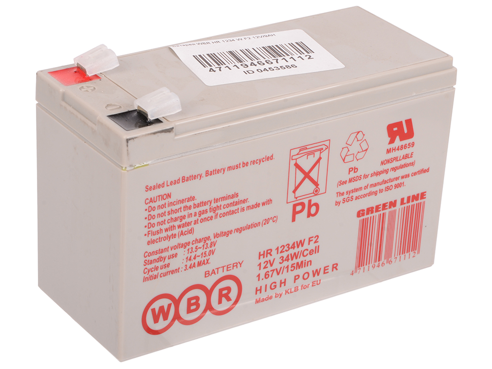 Батарея WBR HR 1234 W F2 12V/9AH батарея powerman ca1290 pm ups 12v 9ah