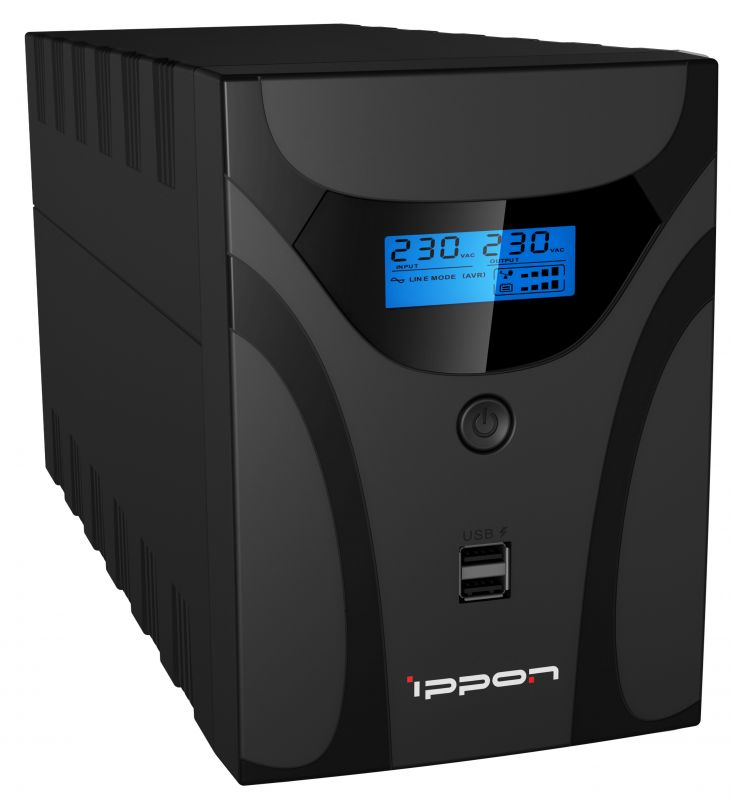ИБП Ippon Smart Power Pro II Euro 2200 2200VA/1200W LCD,RS232,RJ-45,USB (4 EURO) ибп fsp dpv 2000 2000va 1200w lcd display 4 euro