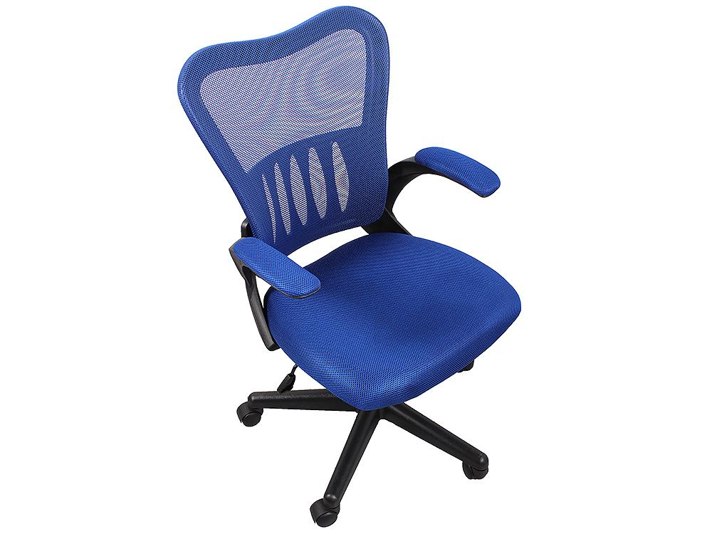 Кресло College HLC-0658F, синий ткань, сетчатый акрил, 120 кг, крестовина и подлокотники черный пластик