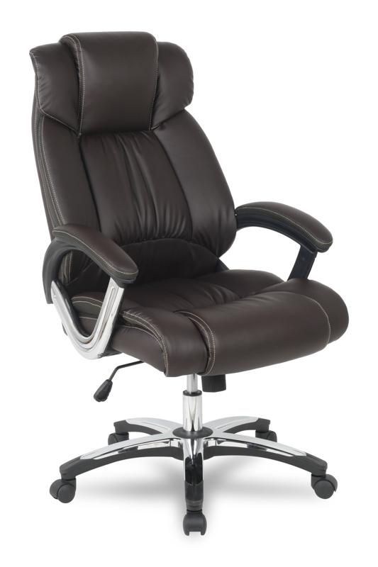 Кресло руководителя COLLEGE H-8766L-1 Коричневый, экокожа, 120 кг, подлокотники кожа/хром, крестовина хром, (ШxГxВ), см 71x74x111-121 цены