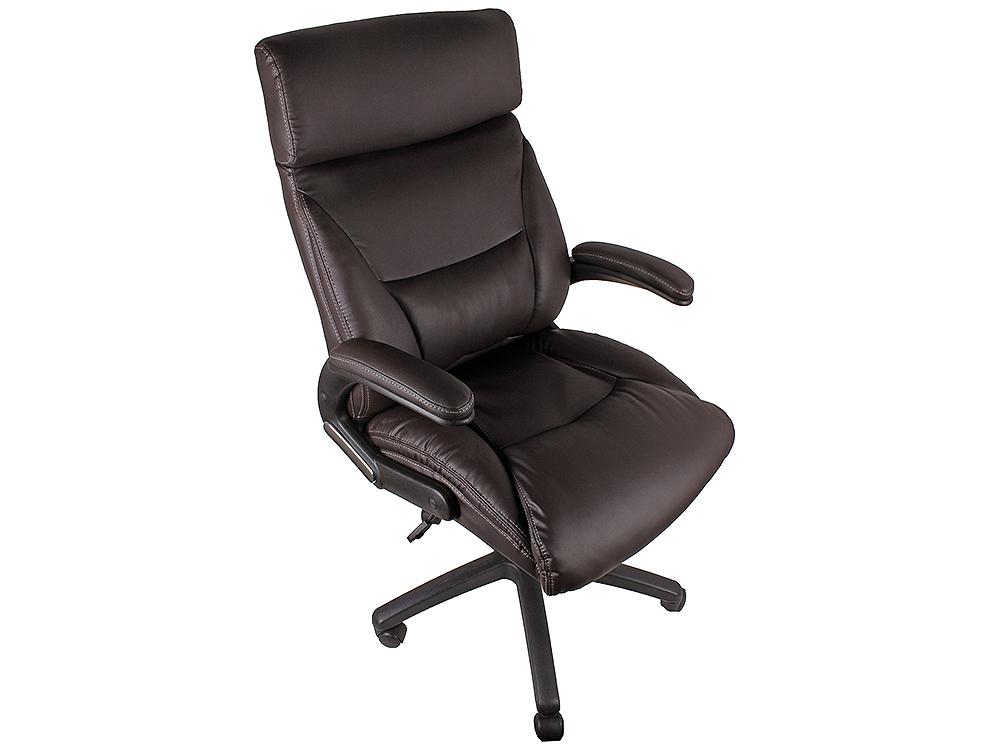 Кресло офисное COLLEGE HLC-0383-1, коричневый, экокожа, 120 кг, подлокотники черный пластик/кожа, крестовина черный пластик, (ШxГxВ),см 64x72x110-119 кресло college h 8078f 5 ткань офисное крестовина хромированный металл подлокотники пластик черный
