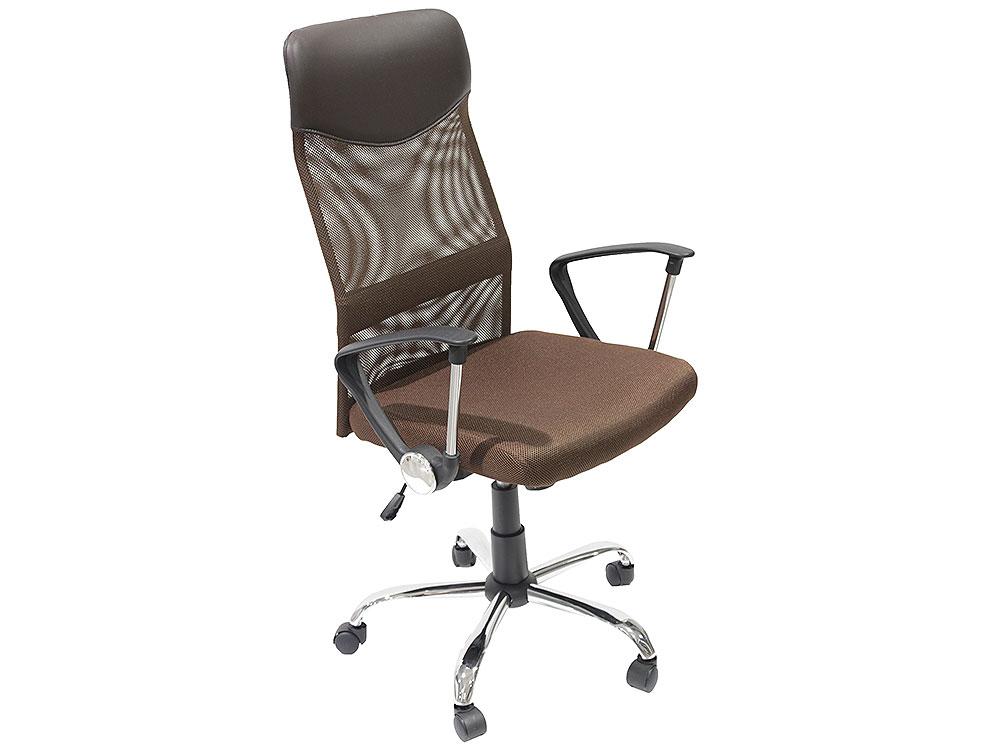 Кресло руководителя COLLEGE H-935L-2 Коричневый, ткань сетчатый акрил, 120 кг, крест. хром/металл, подлокот. черный пластик. ШxГxВ), см 70x67x113-122 h 935l 2