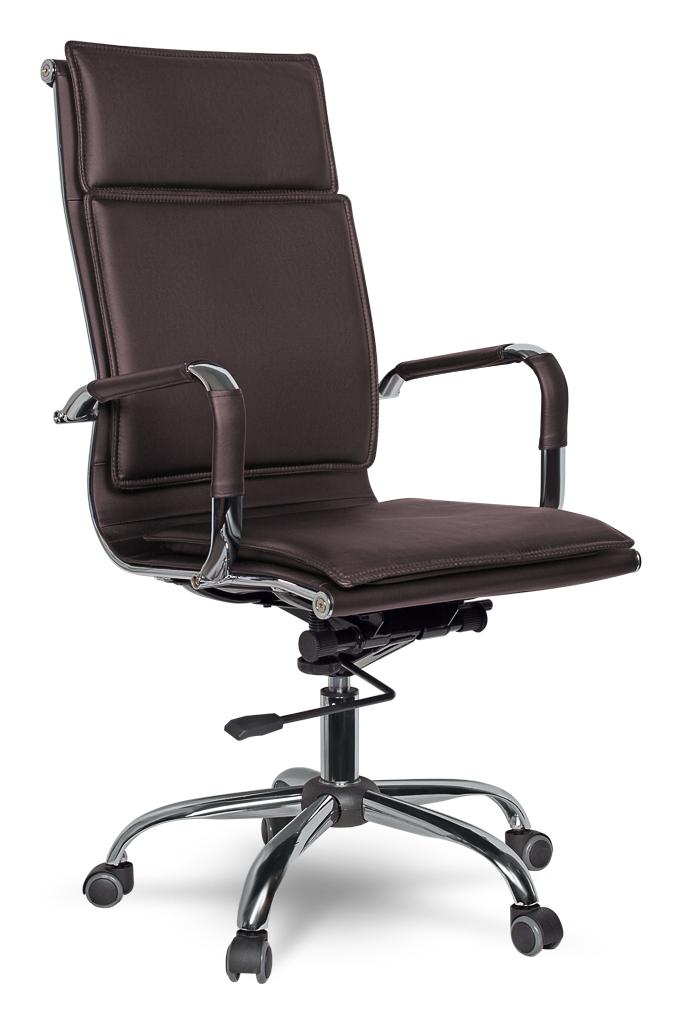 Кресло офисное College XH-635 Brown экокожа,крест.хром/металл,подлокот.хром.металл с кожаными накладками, ШxГxВ см 50х47х110-116 кресло офисное college h 8369f