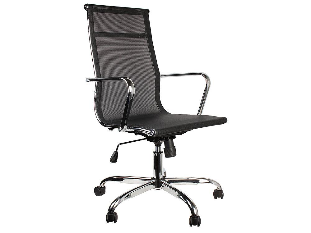 Кресло руководителя COLLEGE H-966F-1 Чёрный сетчатая ткань, крестовина/подлокотники-хром. металл, до 120кг, спинка 57см, ширина 45см, глубина 40см кресло college h 8078f 5 ткань офисное крестовина хромированный металл подлокотники пластик черный