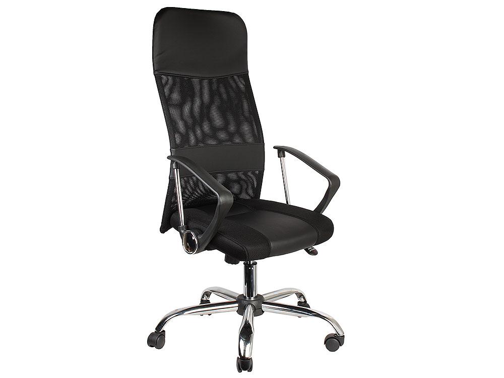 купить Кресло Recardo Smart Чёрный сетка/кожа, 120кг, газлифт/качание/откидывание по цене 5490 рублей