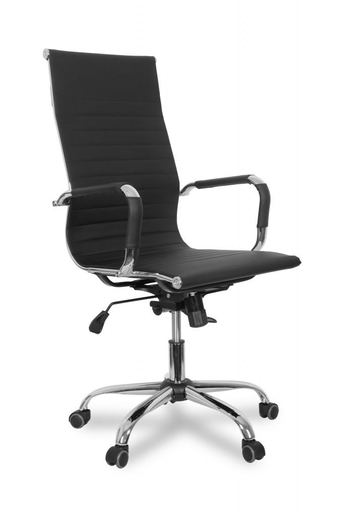 Кресло руководителя COLLEGE CLG-620 LXH-A Black(XH-632ALX) Черный экокожа крестовина/подлокотники-хром,120кг цена в Москве и Питере