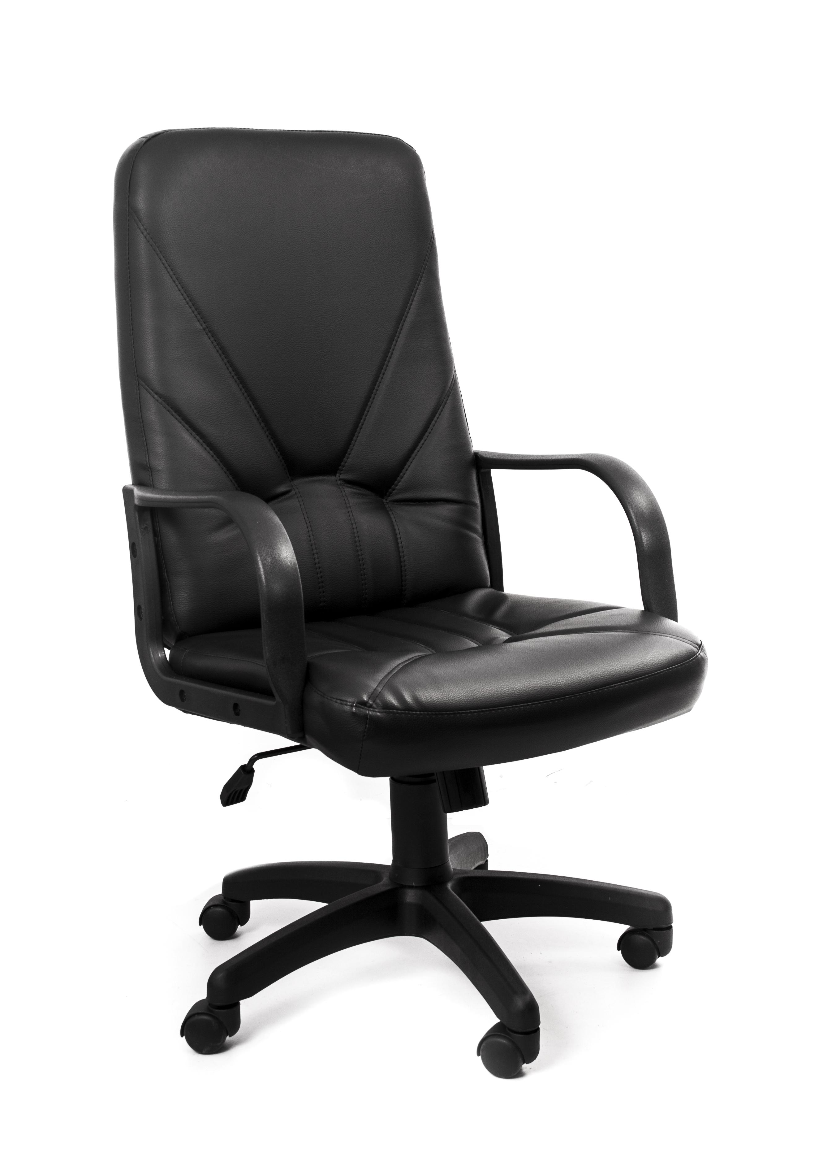 Кресло Recardo Leader (Чёрный, ЭКО КОЖА, 120кг, высота спинки 650мм, ВШГ 1070-1165*525*500мм, крест. пластик 640мм, подлокоткии пластик) кресло recardo assistant y серый