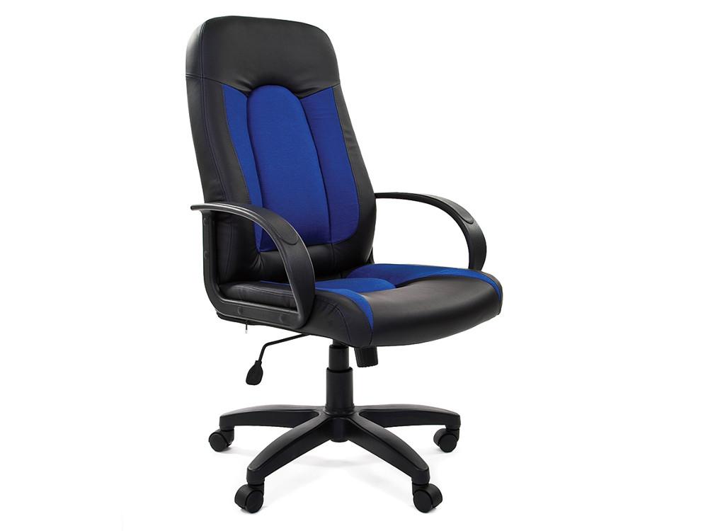 Офисное кресло Chairman 429 Россия эко премиум черный+ткань С-11 синяя офисное