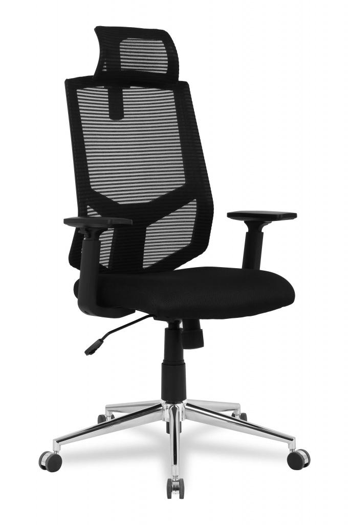 Кресло офисное COLLEGE HLC-1500F-1D-2 Черный, сетчатый акрил,120 кг, крестовина хром,твердые подлокотники,высота спинки 42см