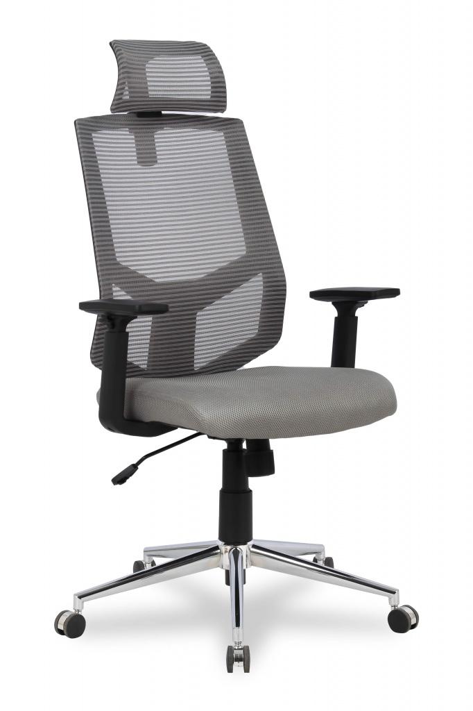 цена на Кресло офисное COLLEGE HLC-1500F-1D-2 Серый, сетчатый акрил,120 кг, крестовина хром, твердые подлокотники, высота спинки 42см