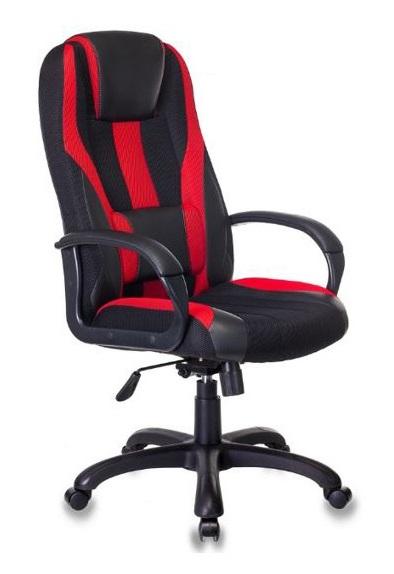 Кресло игровое Бюрократ VIKING-9/BL+RED черный/красный искусст.кожа/ткань цена и фото