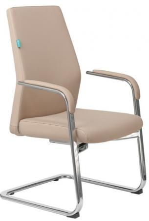 Кресло Бюрократ _JONS-LOW-V/BEIGE на полозьях бежевый кожа
