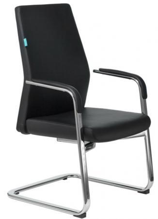 Кресло Бюрократ _JONS-LOW-V/BLACK на полозьях черный кожа
