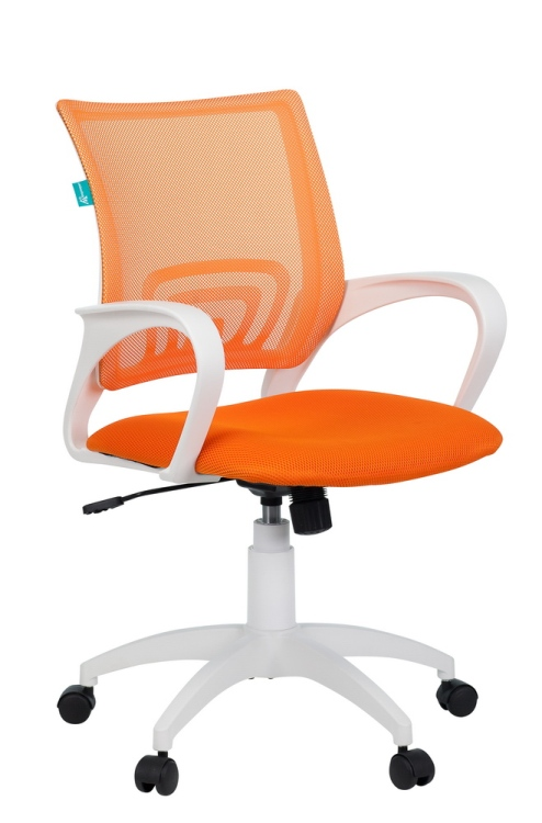 Кресло Бюрократ CH-W695N/OR/TW-96-1 оранжевый сетка/ткань (пластик белый)