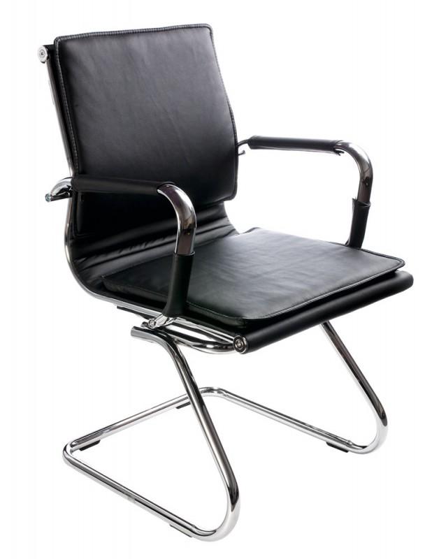 Картинка для Кресло Buro CH-993-Low-V/Black низкая спинка черный искусственная кожа полозья хром
