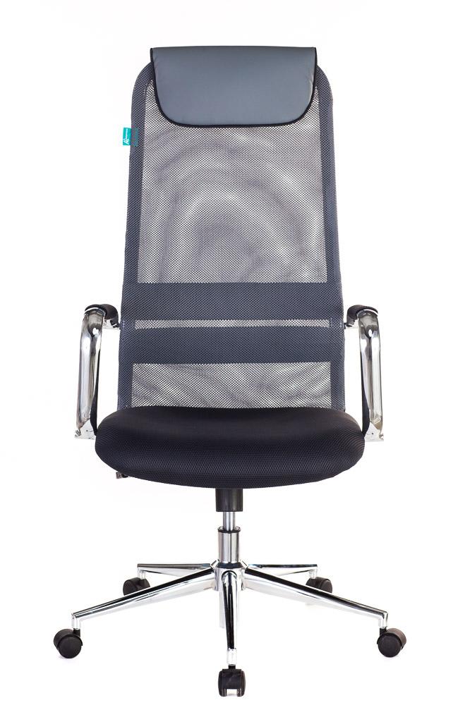 Кресло руководителя Бюрократ KB-9N/DG/TW-12 серый TW-01 TW-11 сетка крестовина хром
