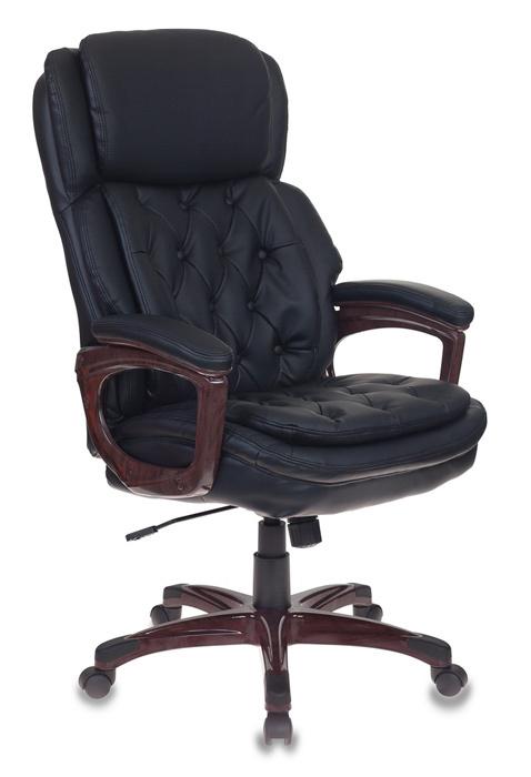 Кресло руководителя Бюрократ T-9918/BLACK черный рец.кожа/кожзам