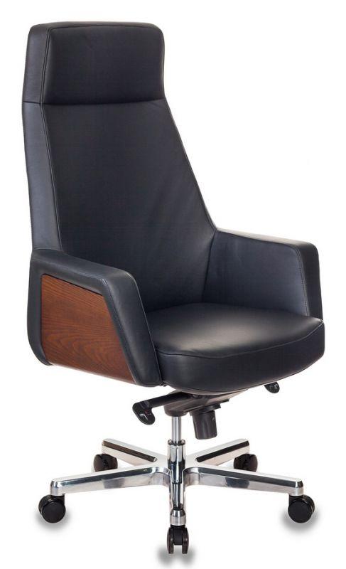 Кресло руководителя Бюрократ _ANTONIO/BLACK черный кожа крестовина алюминий