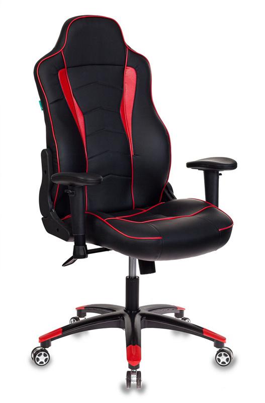 Кресло игровое Бюрократ VIKING-3/BL+RED черный/красный искусственная кожа офисное кресло profoffice maxus c эко кожа кожа черный орех искусственная кожа 4 опоры