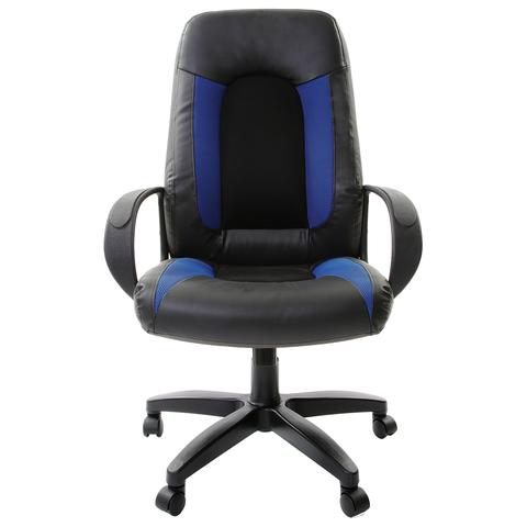 Кресло офисное BRABIX Strike EX-525, экокожа черная, ткань черная/синяя, TW, 531380