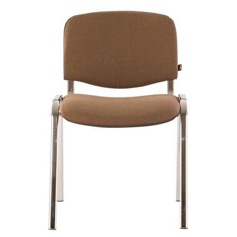 Стул для персонала и посетителей BRABIX Iso CF-001, хромированный каркас, ткань коричневая, 531421 стул vision с 7 тон 318 агата коричневая