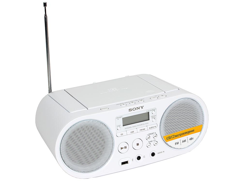 лучшая цена Аудиомагнитола Sony ZS-PS50W White, CD-магнитола, мощность звука 4 Вт, MP3, тюнер AM, FM, воспроизведение с USB-флэшек