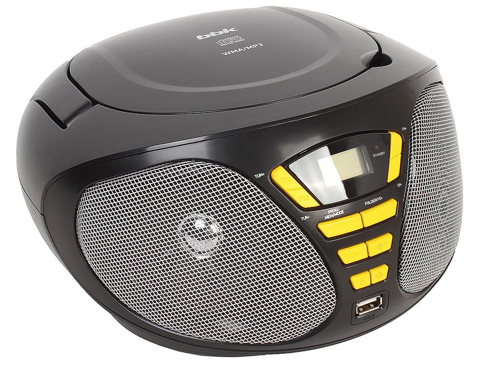 Аудиомагнитола BBK BX180U черный/желтый аудиомагнитола bbk bx195u желтый