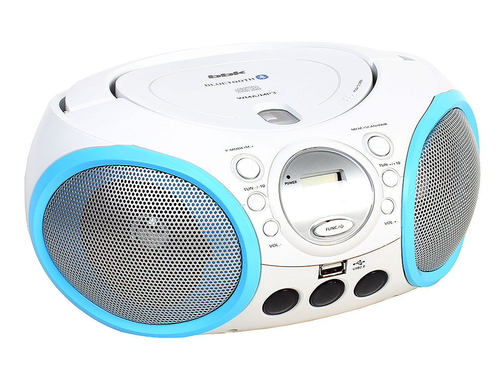 Аудиомагнитола BBK BX150BT белый/голубой аудиомагнитола bbk bs07bt темно синий