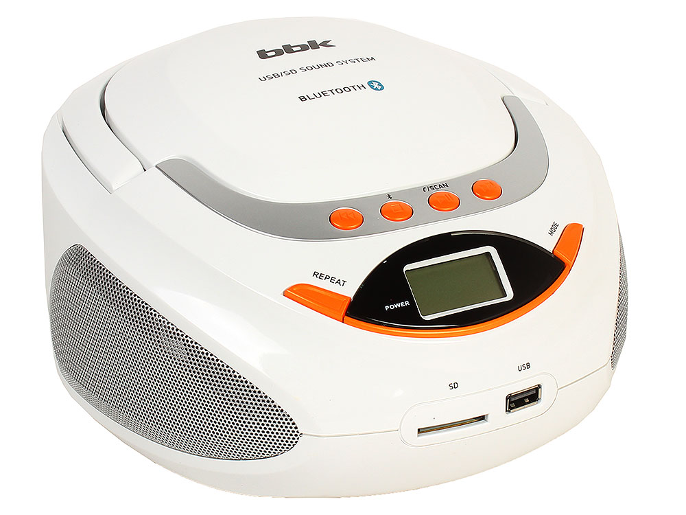 Магнитола BBK BS09BT белый/оранжевый bbk bs09bt белый c оранжевым