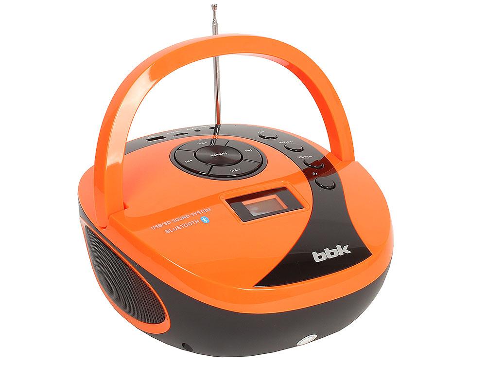 лучшая цена Аудиомагнитола BBK BS10BT черный/оранжевый