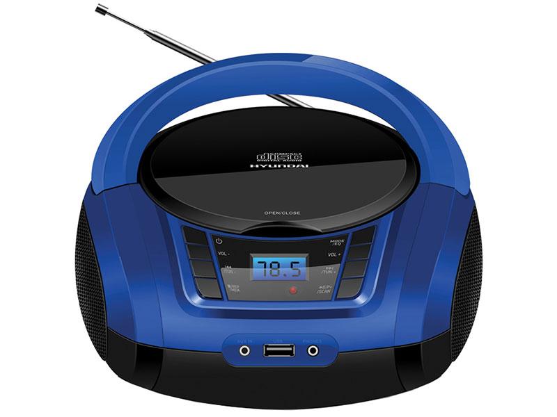 Аудиомагнитола Hyundai H-PCD340 черный/синий 4Вт/CD/CDRW/MP3/FM(dig)/USB/BT/SD/MMC/microSD фото
