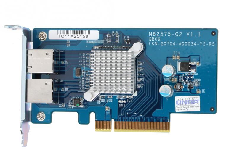 Карта расширения QNAP LAN-1G2T-U с двумя портами Gigabit Ethernet для TS-EC879U-RP, TS-EC1279U-RP, TS-879U-RP и TS-1279U-RP схд стоечное исполнение 4bay rp no hdd ts 432xu rp 2g qnap