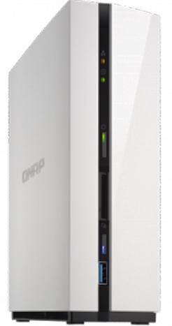 Сетевой накопитель QNAP D1 Сетевой накопитель с одним отсеком для жесткого диска. Оснащен двухъядерным процессором ARM и одним гигабайтом оперативной цена