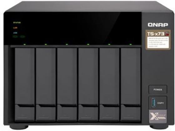 """Cетевой накопитель QNAP TS-673-4G Сетевой RAID-накопитель, 6 отсеков 3,5""""/2,5"""", 2 слота M.2 SSD. AMD RX-421ND 2,1 ГГц (до 3,4 ГГц ), 4 ГБ DDR4."""