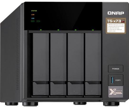 """Сетевой накопитель QNAP TS-473-4G Сетевой RAID-накопитель, 4 отсека 3,5""""/2,5"""", 2 слота M.2 SSD. AMD RX-421ND 2,1 ГГц (до 3,4 ГГц ), 4 ГБ DDR4."""