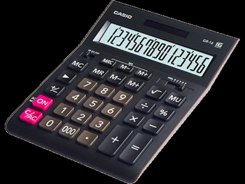 Калькулятор Casio GR-16 16-разрядный черный калькулятор настольный casio gr 12c lb голубой 12 разр