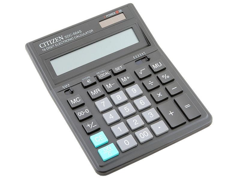 Калькулятор Citizen SDC-664S двойное питание 16 разрядов налог наценка конвертер черный калькулятор citizen sdc 640ii 14 цифр дисплей