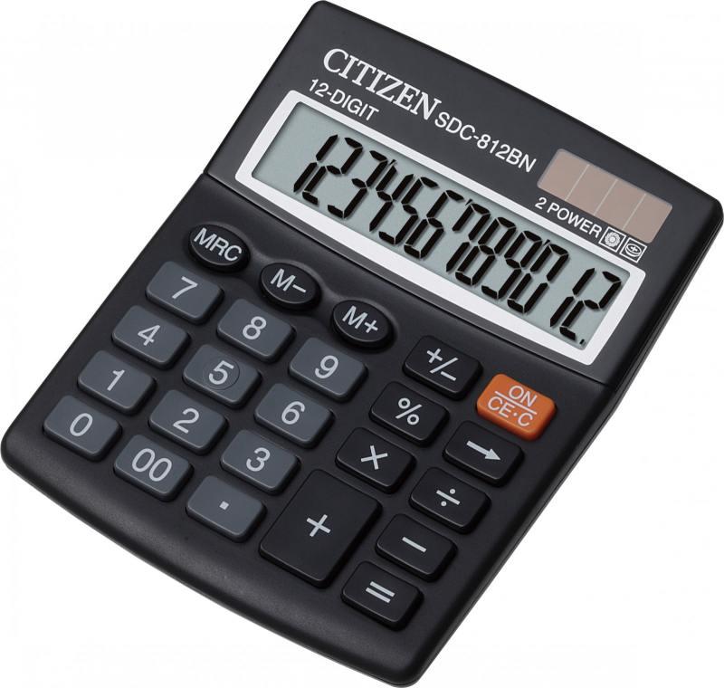 Калькулятор настольный Citizen SDC-812BN 12-разрядный калькулятор citizen sdc 640ii 14 цифр дисплей