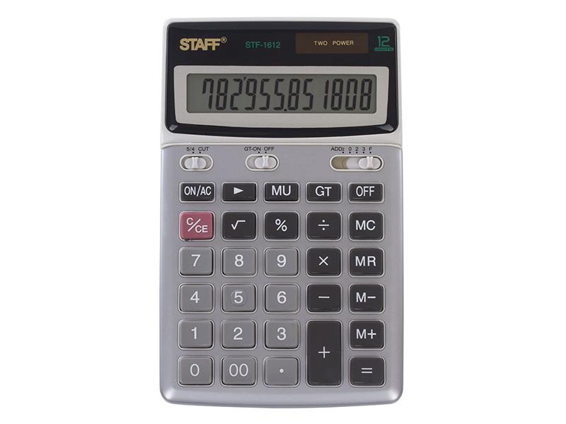 Калькулятор настольный металлический STAFF STF-1612 (175х107 мм), 12 разрядов, двойное питание