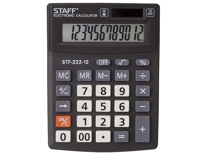 Калькулятор настольный STAFF PLUS STF-222, КОМПАКТНЫЙ (138x103 мм), 12 разрядов, двойное питание фото