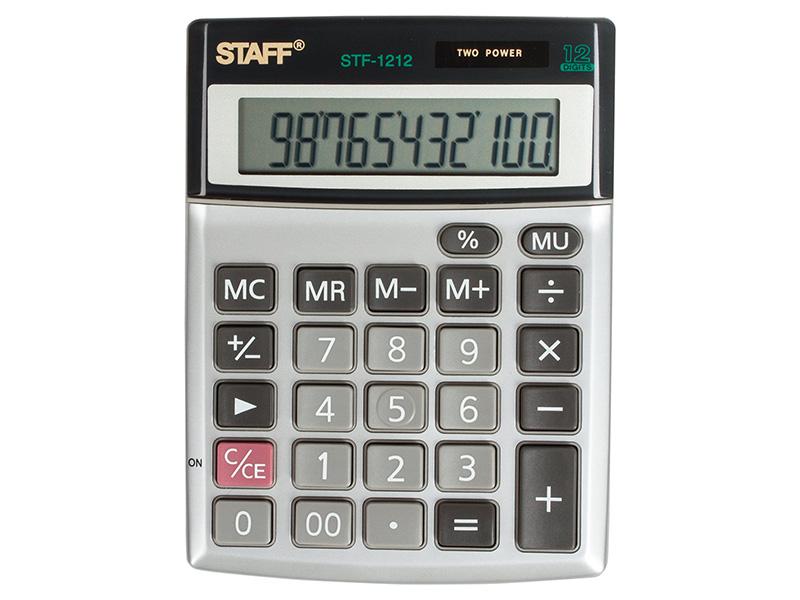 Калькулятор настольный металлический STAFF STF-1212, КОМПАКТНЫЙ (140х105 мм), 12 разрядов, двойное питание фото