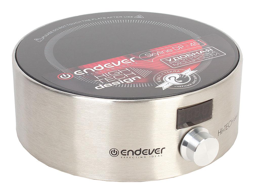 Плитка стеклокерамическая Endever Skyline DP-45 Серебрянная 1500Вт., 1 конфорка электроплитка endever 41 dp чёрный