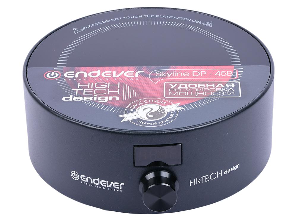 Плитка стеклокерамическая Endever Skyline DP-45B, чёрная, 1500 Вт., 1 конфорка, LED - дисплей электроплитка endever 41 dp чёрный