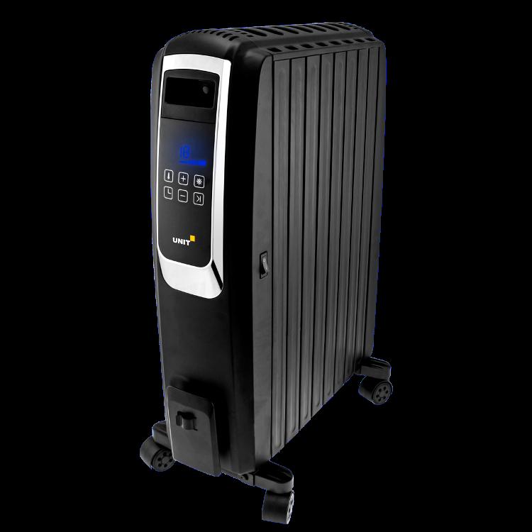 Масляный обогреватель UNIT UOR-993, Цвет: Черный; 2000Вт, Закрытый, Управление - Сенсорный LCD дисплей, цифровой термостат, пульт д.у.