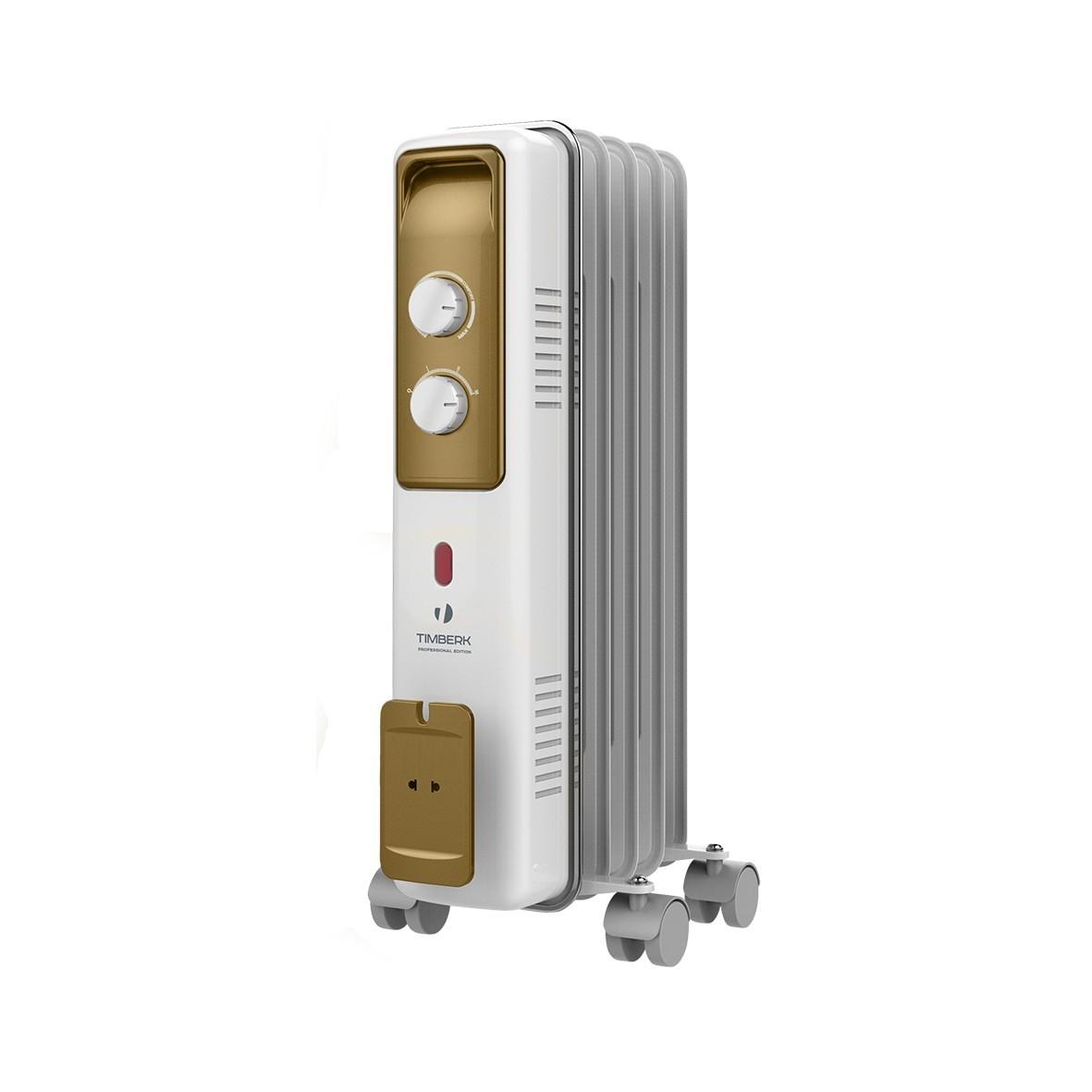 Масляный радиатор Timberk TOR 21.1005 BCX, 5 секций, 1000 Вт., защита от протечек масла, высокоточный термостат