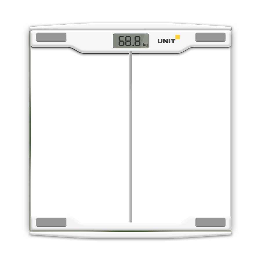 купить Весы напольные электронные UNIT UBS-2054 (Цвет: Светло-Серый); стекло, прозрачные, 150кг. 100гр. по цене 670 рублей