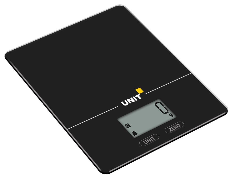 Весы Кухонные электронные UNIT UBS-2154, Цвет: Черный; стекло, 5кг. 1гр.