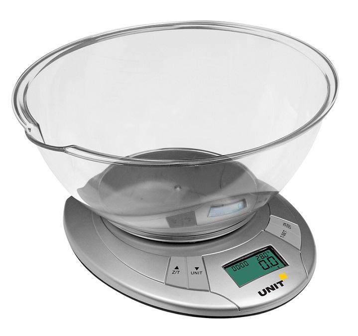 Весы Кухонные электронные UNIT UBS-2155, Цвет: Светло-серый; Чаша пластик (2.4л), 5кг. 1гр., Измерение температуры, Таймер цена и фото